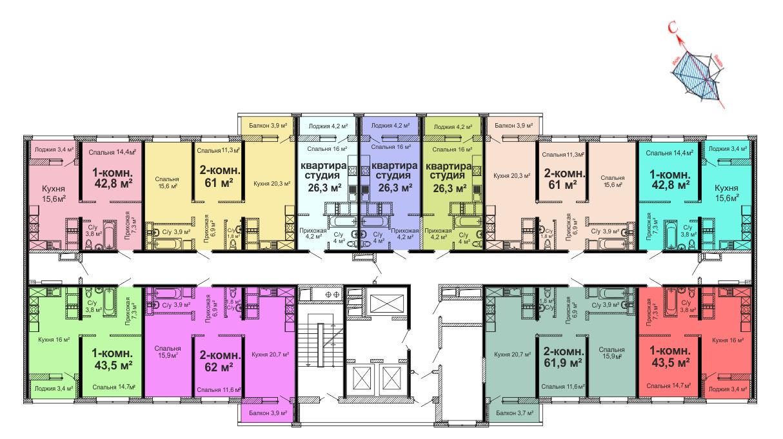ЖК Скай сити (Sky City) / Секция №2 / План 14-23 этажей