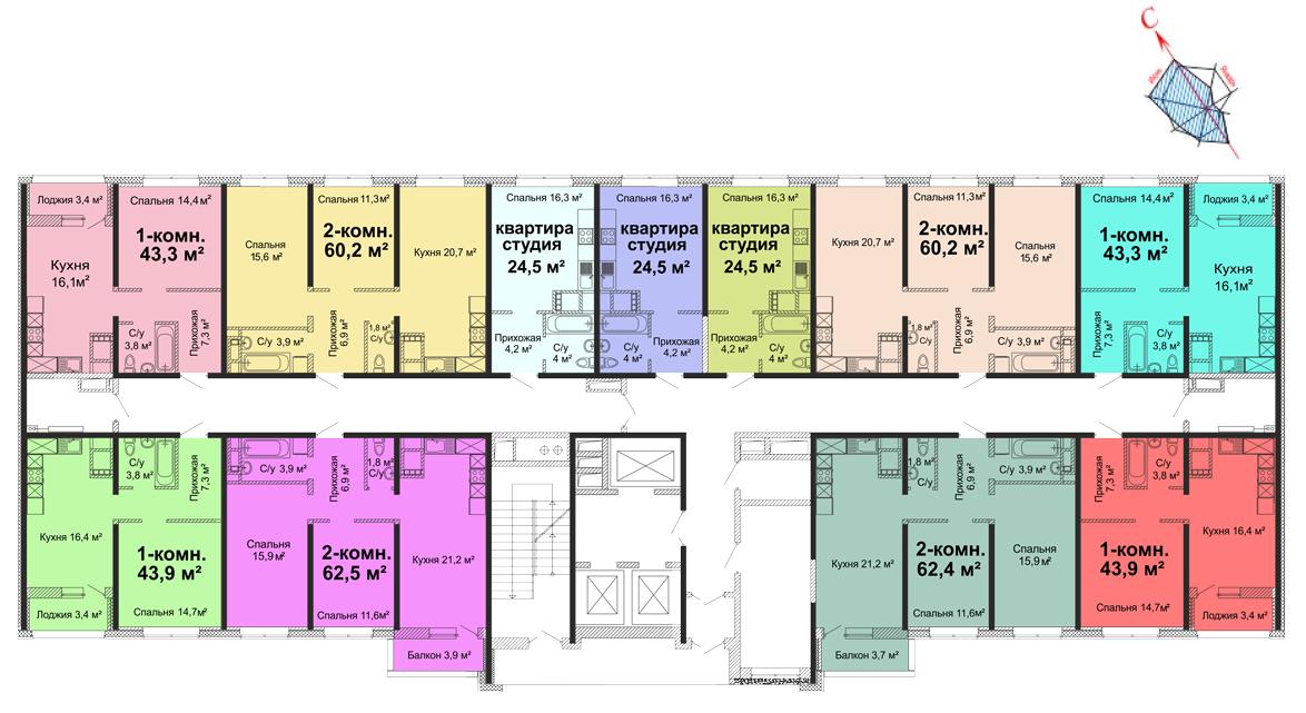 ЖК Скай сити (Sky City) / Секция №2 / План 2 этажа