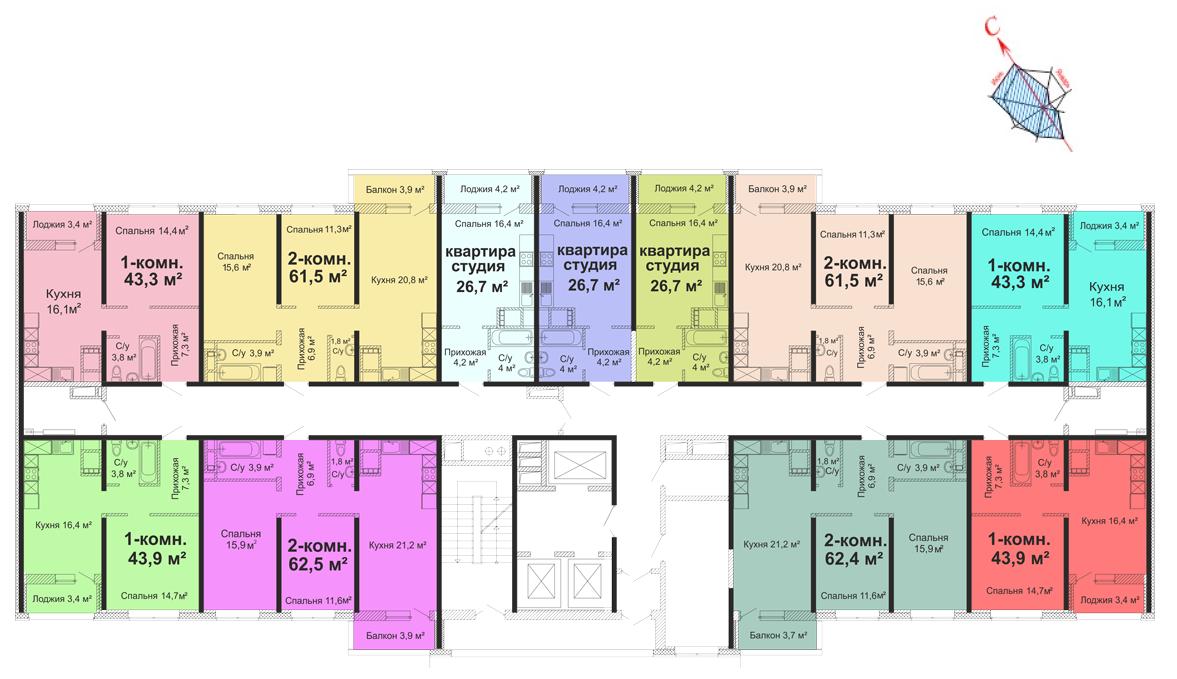 ЖК Скай сити (Sky City) / Секция №2 / План 3-13 этажей