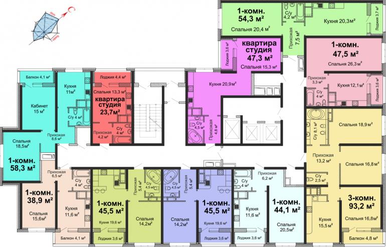 ЖК Скай сити (Sky City) / Секция №3 / План 2 этажа