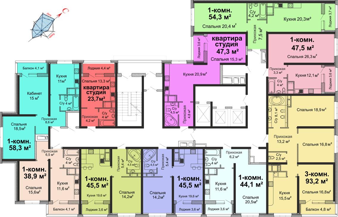 ЖК Скай сити (Sky City) / Секция №3 / План 3-13 этажей