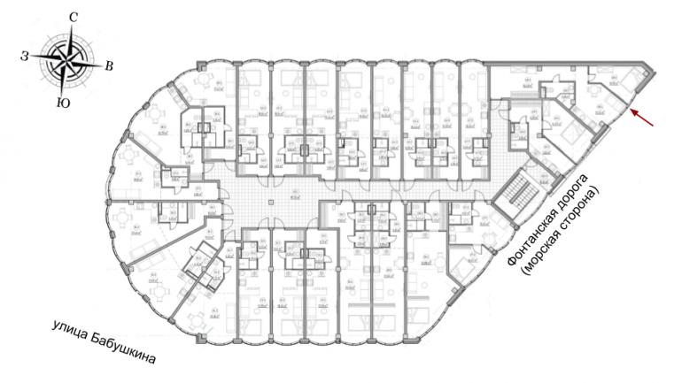 The Apartments Однокомнатная 47,2 Расположение на этаже