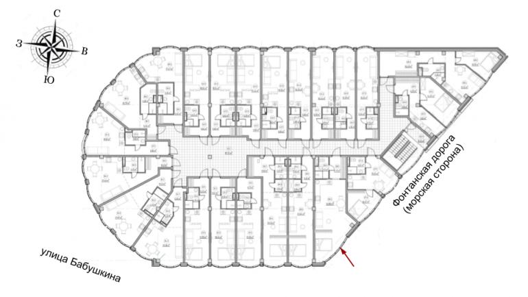 The Apartments Квартира-студия 41,1 Расположение на этаже