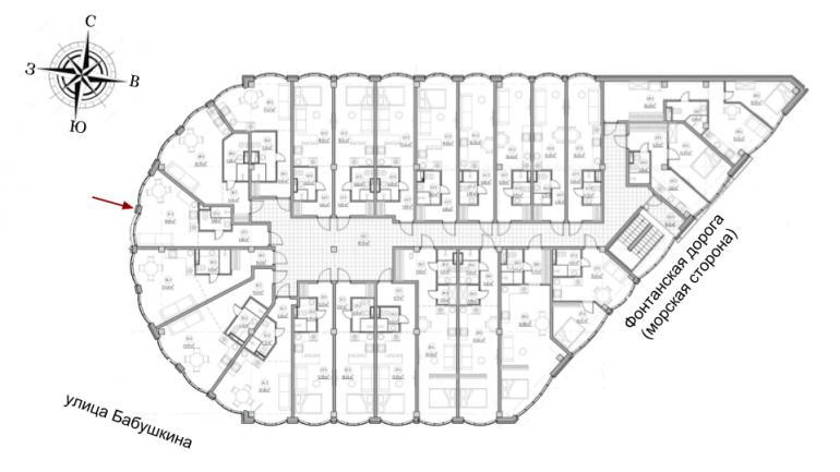 The Apartments Квартира-студия 30,78 Расположение на этаже