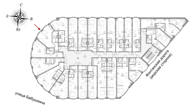 The Apartments Квартира-студия 32,91 Расположение на этаже