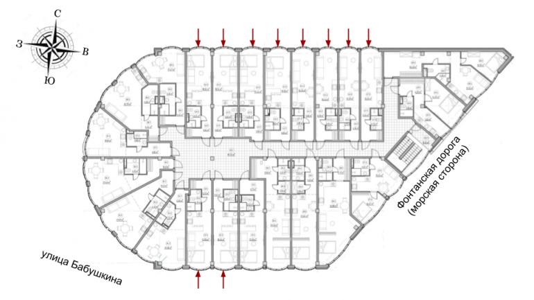 The Apartments Квартира-студия 22,6 Расположение на этаже