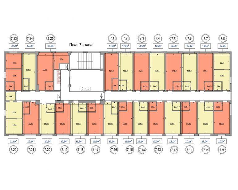 жк на ул. Промышленная 37-Т планировка 7-го этажа
