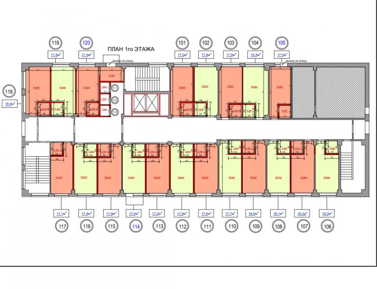 жк на ул. Промышленная 37-Т планировка 1-го этажа