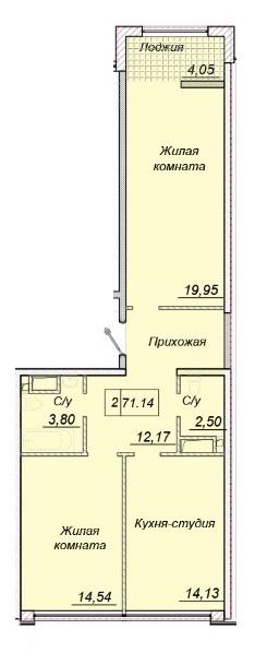 71,14 кв.м. жк 35 тридцать пятая жемчужина план двухкомнатная