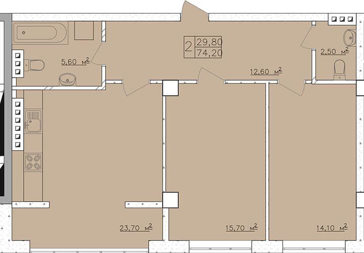 74,5 кв.м. жк клаб марин двухкомнатная планировка
