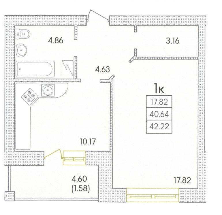 44,2 кв.м. жк совиньон однокомнатная планировка дом три