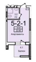 20,55 жк смарт однокомнатная планировка
