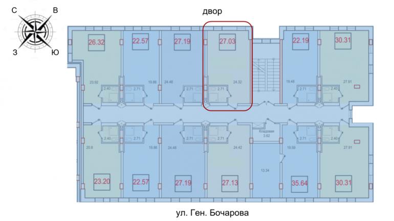 27,03 жк смарт однокомнатная расположение на этаже