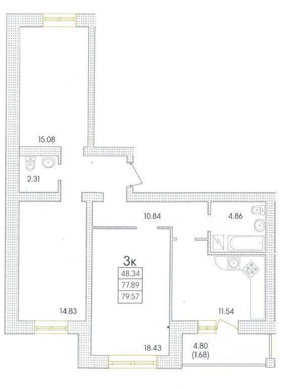 82,4 кв.м. жк парк совиньон однокомнатная планировка