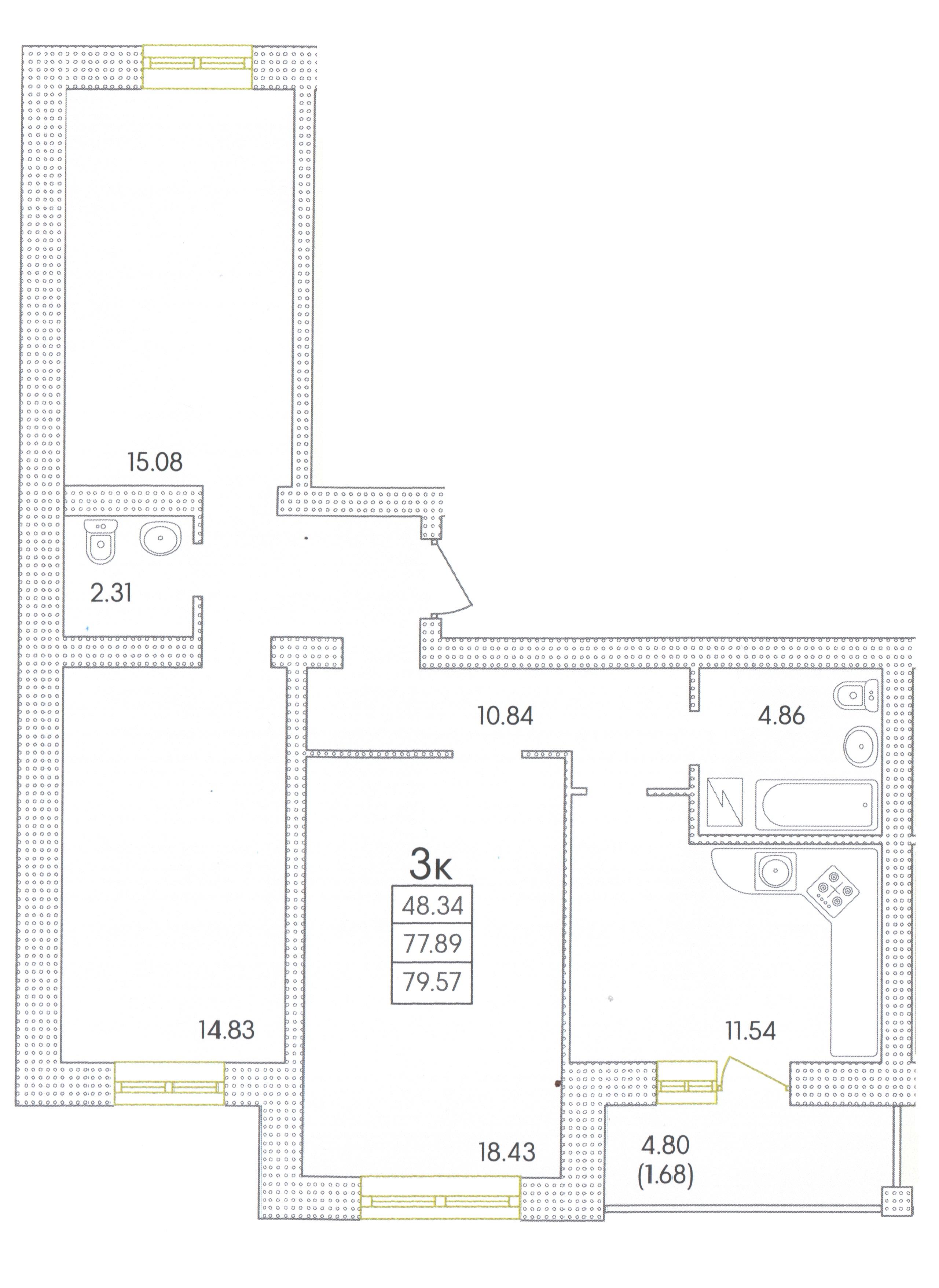 Трехкомнатная - ЖК Парк СовиньонПроданаПлощадь:80,36m²