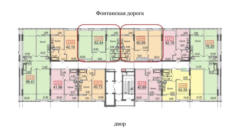 60,69 31 Жемчужина двухкомнатная расположение на этаже