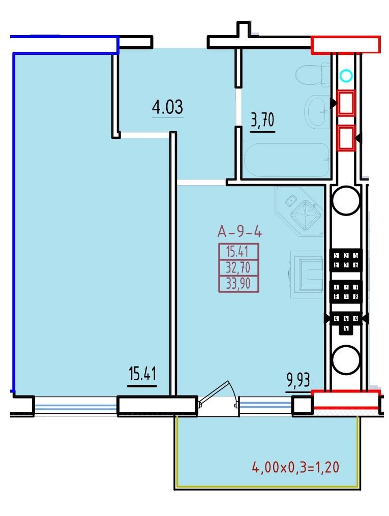 Однокомнатная - ЖК КонтинентПроданаПлощадь:35,2m²