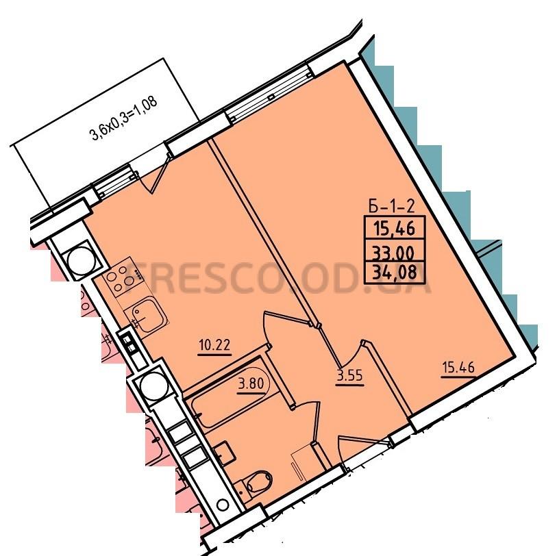 Однокомнатная - ЖК Континент$28469Площадь:34,3m²
