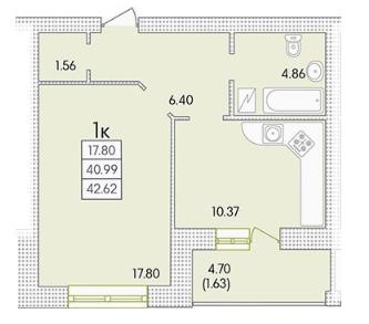 42,74 жк парк совиньон однокомнатная планировка