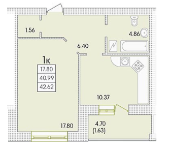 Однокомнатная - ЖК Парк СовиньонПроданаПлощадь:42,74m²