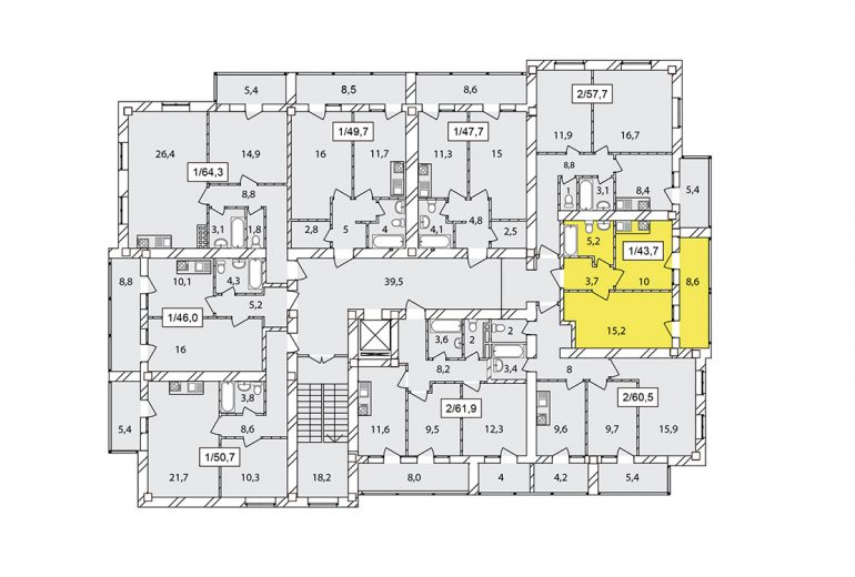 43,7 жк чайка на плиева однокомнатная размещение на этаже