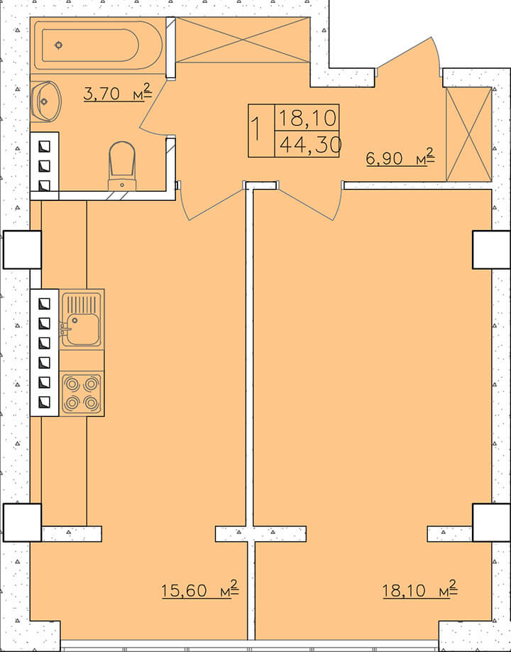Однокомнатная - ЖК Клаб Марин (Club Marine)$29547Площадь:44,1m²