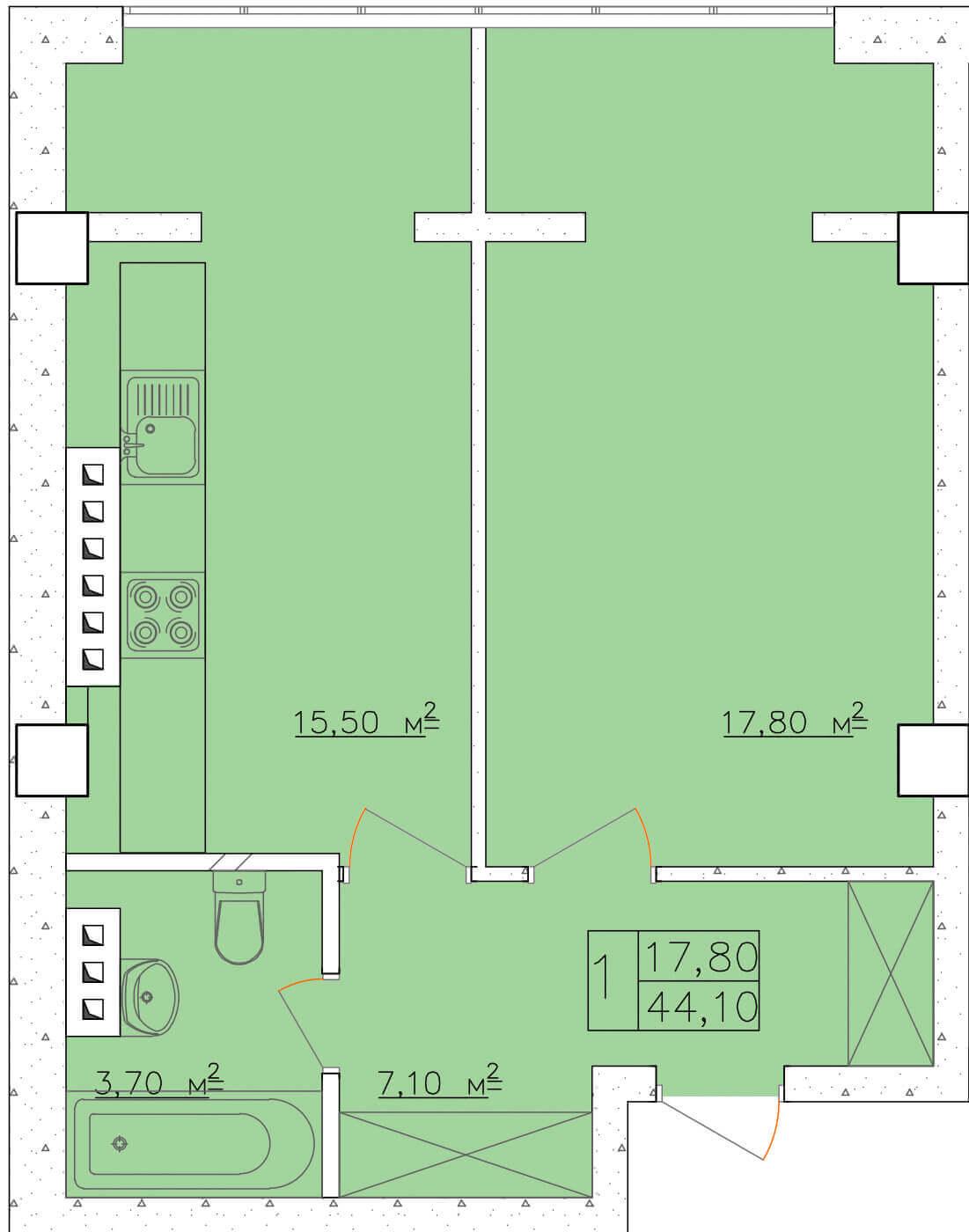 Однокомнатная - ЖК Клаб Марин (Club Marine)$30660Площадь:43,8m²