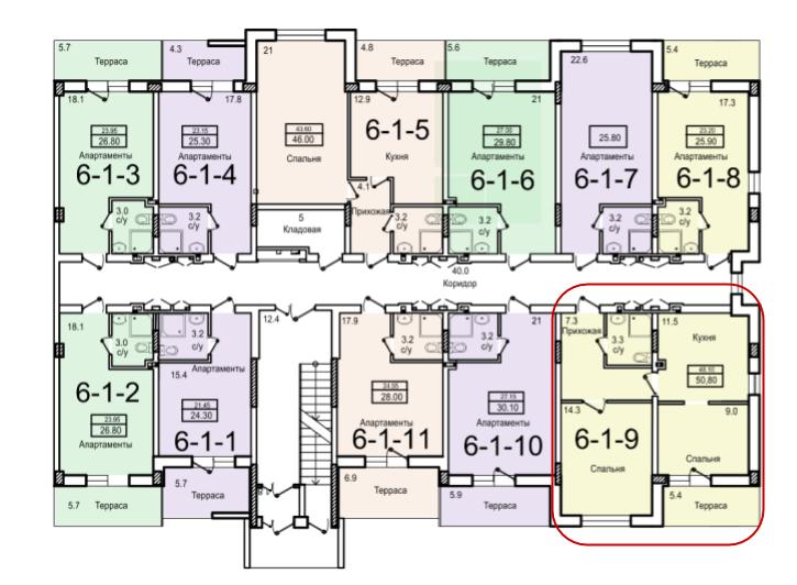 48,1 жк смарт smart двухкомнатная размещение на этаже