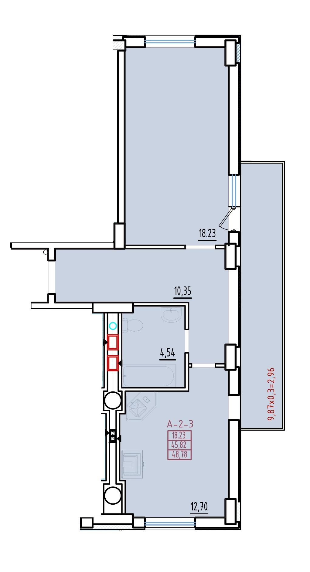 Однокомнатная - ЖК Континент$41085Площадь:49,5m²