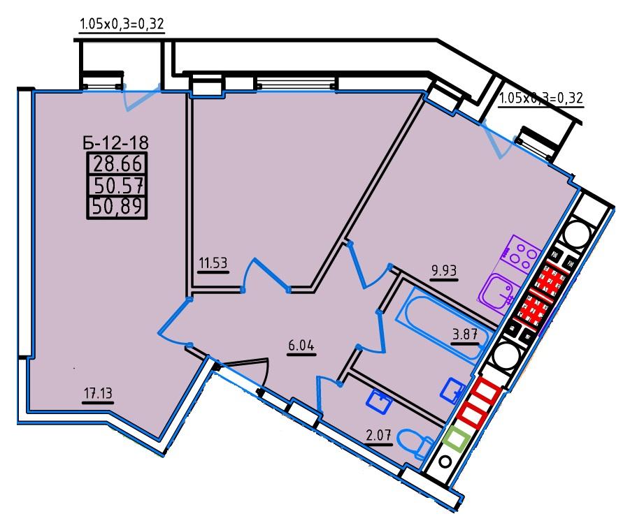 Двухкомнатная - ЖК Континент$41184Площадь:52,8m²