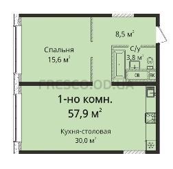Однокомнатная - ЖК Sea View (Си Вью) Будова Гагаринское плато$52689Площадь:57,9m²