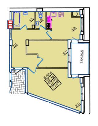 60,9 жк континент двухкомнатная план квартиры секция Б