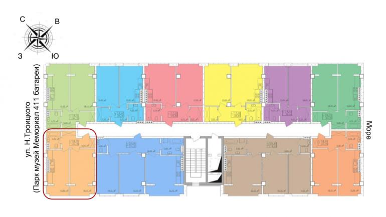 43,8 кв.м жк клаб марин однокомнатная расположение на этаже