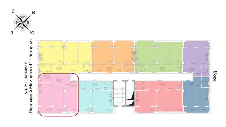 70,1 кв.м. жк клаб марин двухкомнатная расположение на этаже