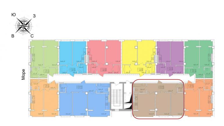 74,5 кв.м. жк клаб марин двухкомнатная расположение на этаже