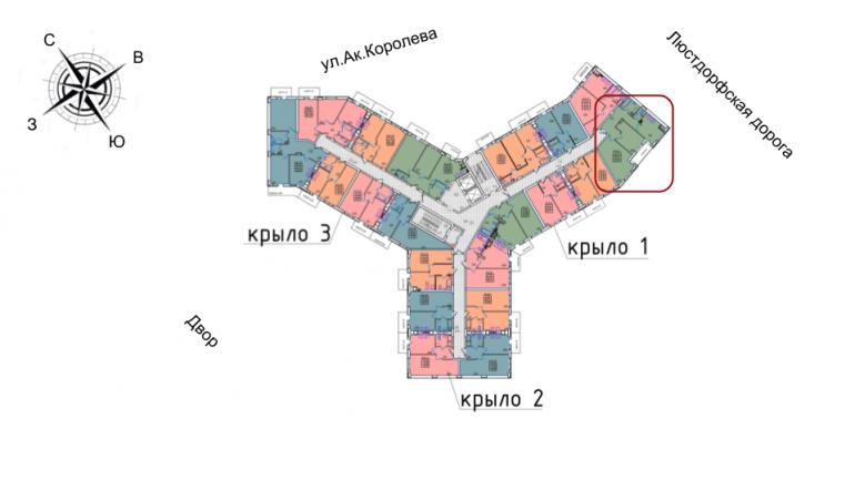 60,9 жк континент двухкомнатная расположение на этаже секция Б