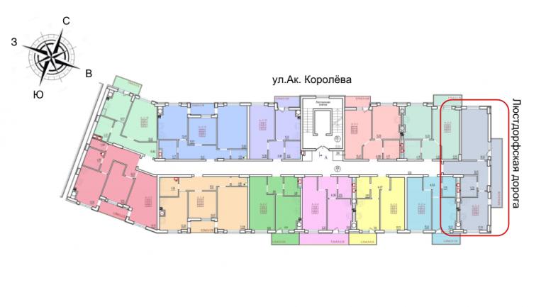 49,5 кв.м. жк континент однокомнатная расположение на этаже секция А