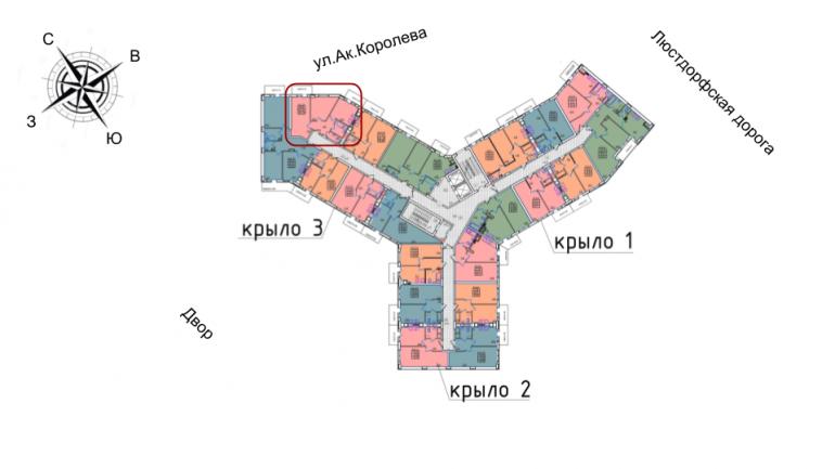 52,8 жк континент двухкомнатная расположение на этаже секция Б