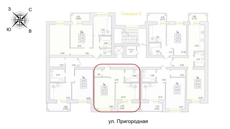 42,74 жк парк совиньон однокомнатная размещение на этаже