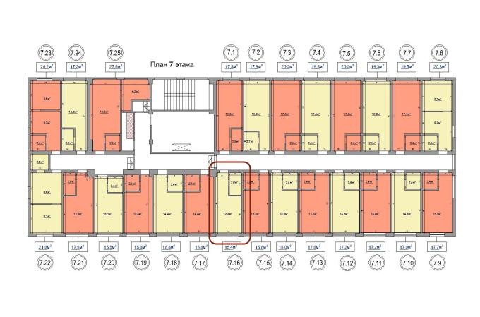 15,4 кв. м. жк на ул. промышленная 37-т однокомнатная планировка расположение на этаже