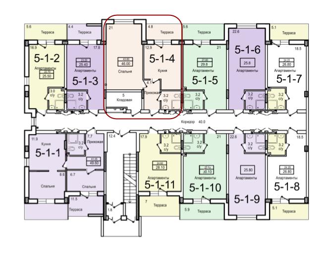 43,6 жк смарт однокомнатная расположение на этаже