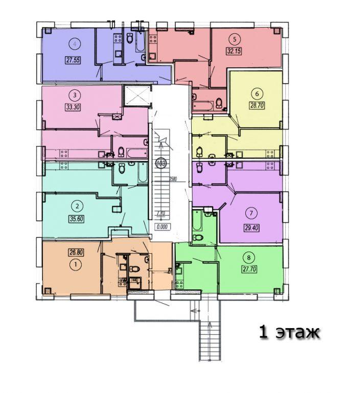 жк клубный №4 план 1-го этажа