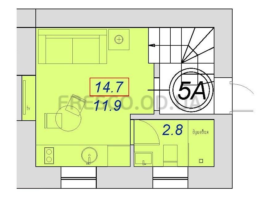 Однокомнатная - ЖК на ул. 7-я Пересыпская 2А, корпус Б$10800Площадь:14,4m²