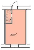 18,6 кв.м жк 7-я пересыпская однокомнатная смартквартира планировка