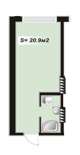 Однокомнатная - ЖК Андриевский$14750Площадь:20,9m²