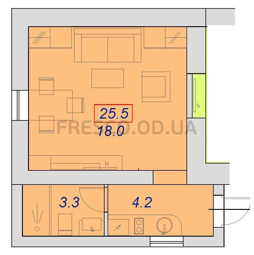 Однокомнатная - ЖК на ул. 7-я Пересыпская 2А, корпус Б$17500Площадь:25,6m²