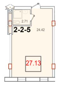 Однокомнатная - ЖК Smart (Смарт)ПроданаПлощадь:27,13m²