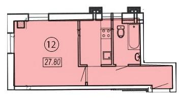 Однокомнатная - ЖК Клубный 4 на ДоковойПроданаПлощадь:27,8m²