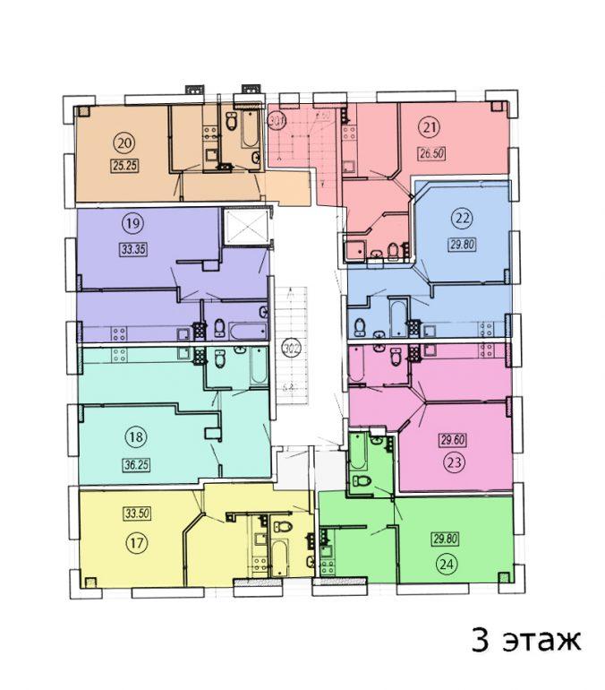 жк клубный №4 план 3-го этажа