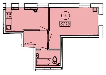 Однокомнатная - ЖК Клубный 4 на ДоковойПроданаПлощадь:32,8m²